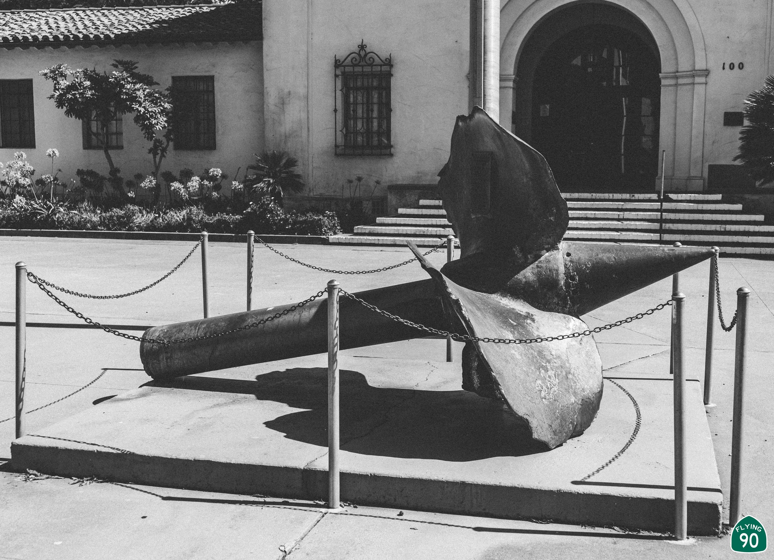 The Lompoc Veterans Memorial Building includes a propeller and propeller staff of a destroyer in honor of the victims of the Honda Point Disaster. On the night of September 8, 1923, seven ships ran aground at Honda Point; 23 were killed and numerous others were injured.