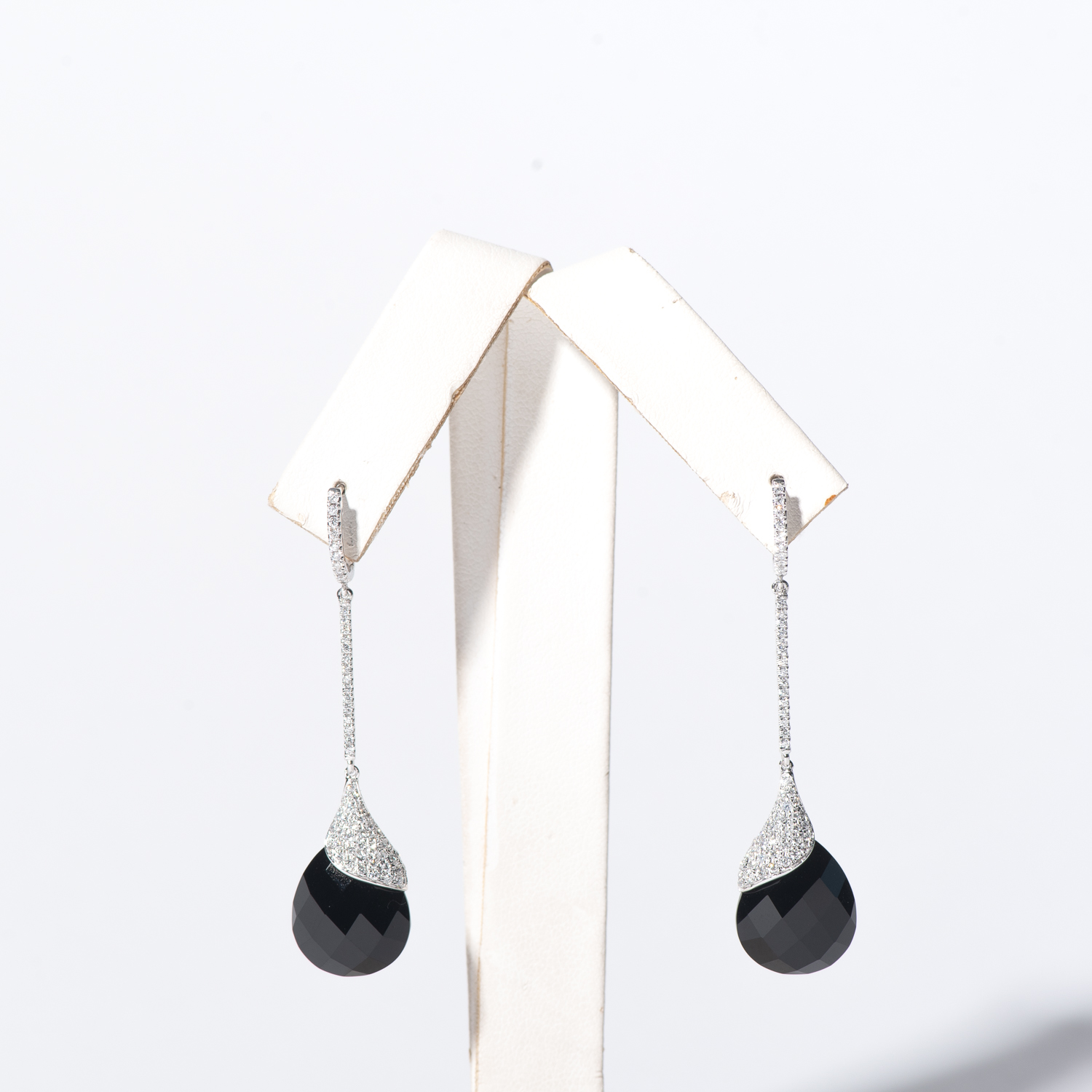 Design Two.  - 14K White Gold Onyx and Diamond Drop Earrings.