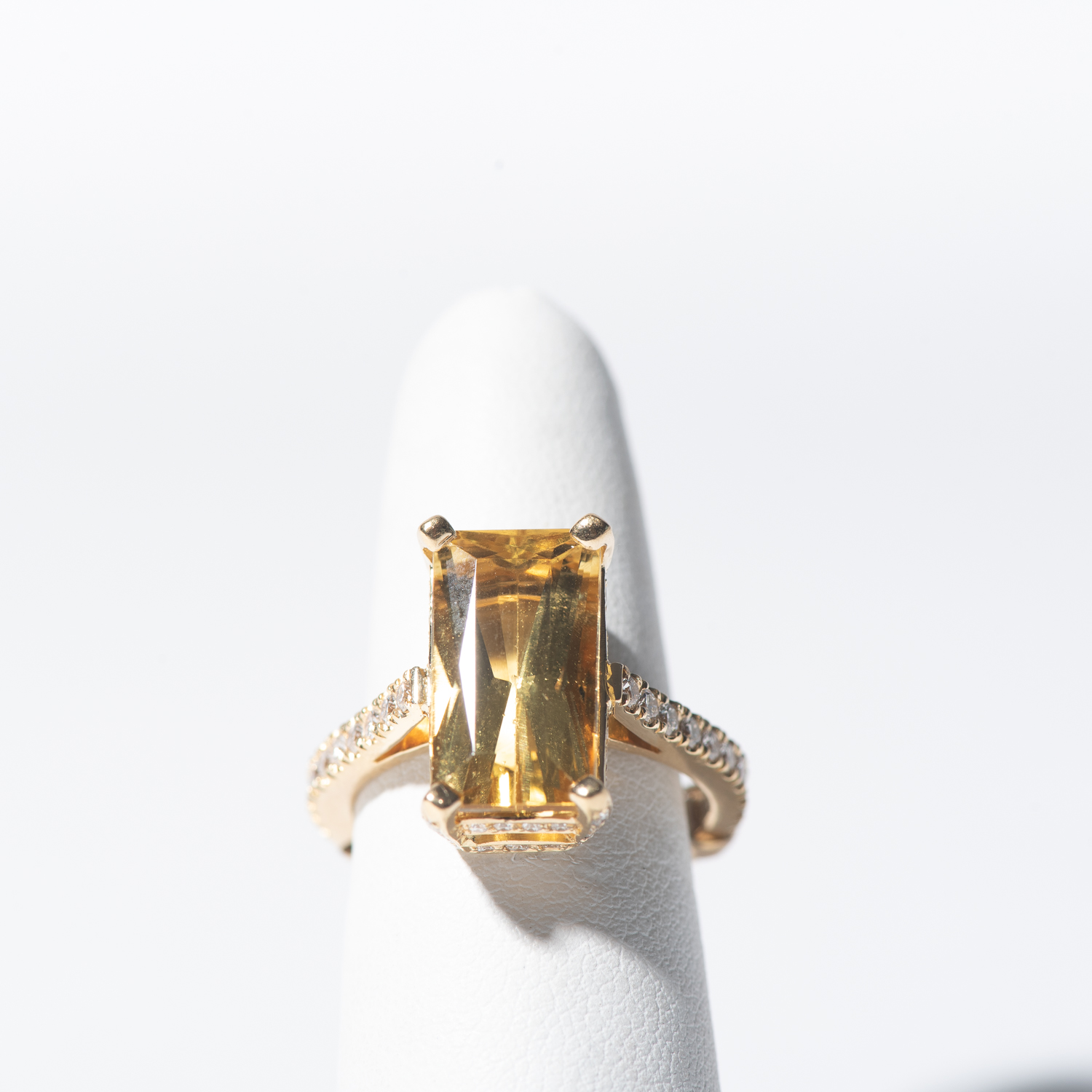 Design Two. - 6ct Heliodor with .4ct Diamond Band, Handset in Yellow Gold Mounting