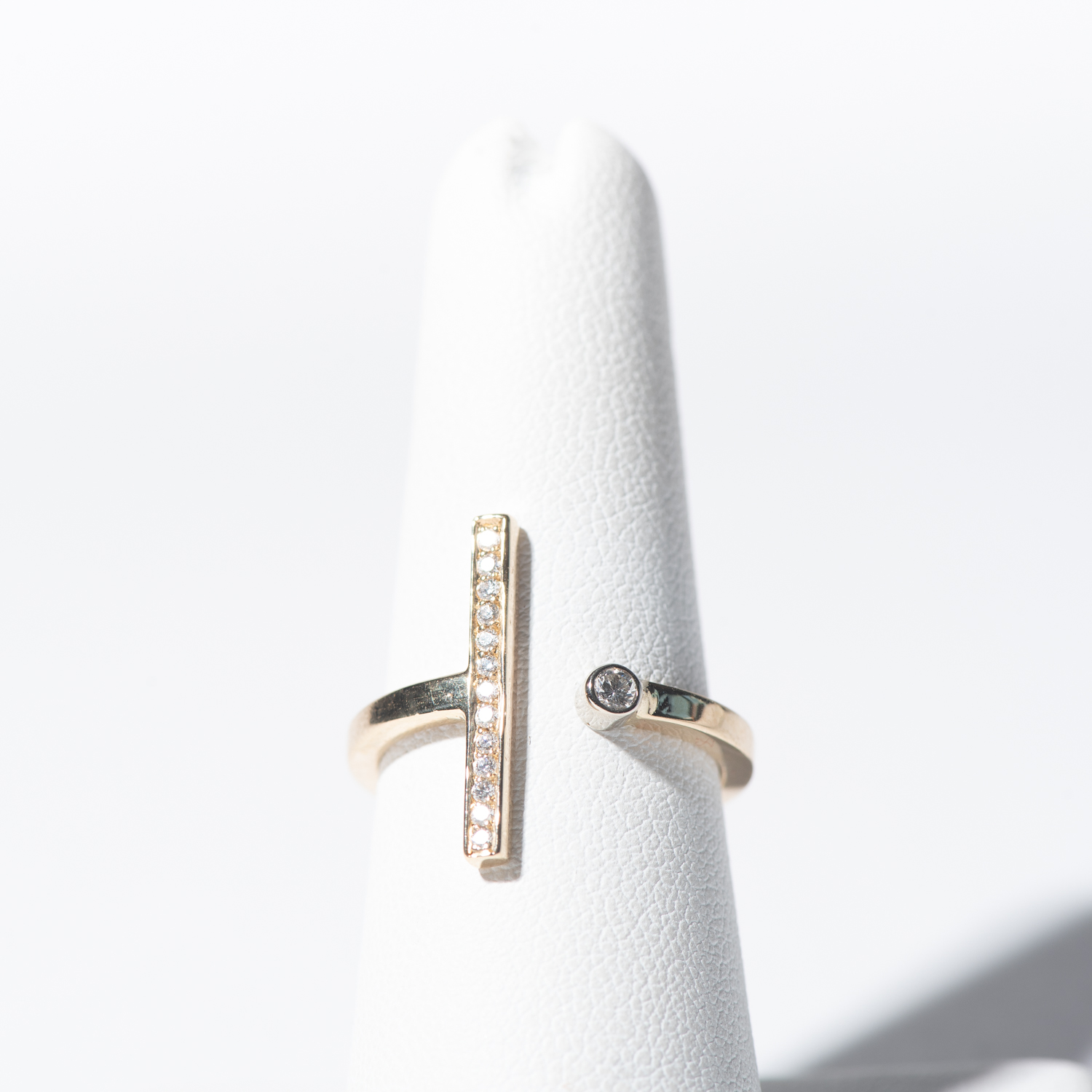 Design Three. - 18K Yellow Gold Dot + Bar Ring