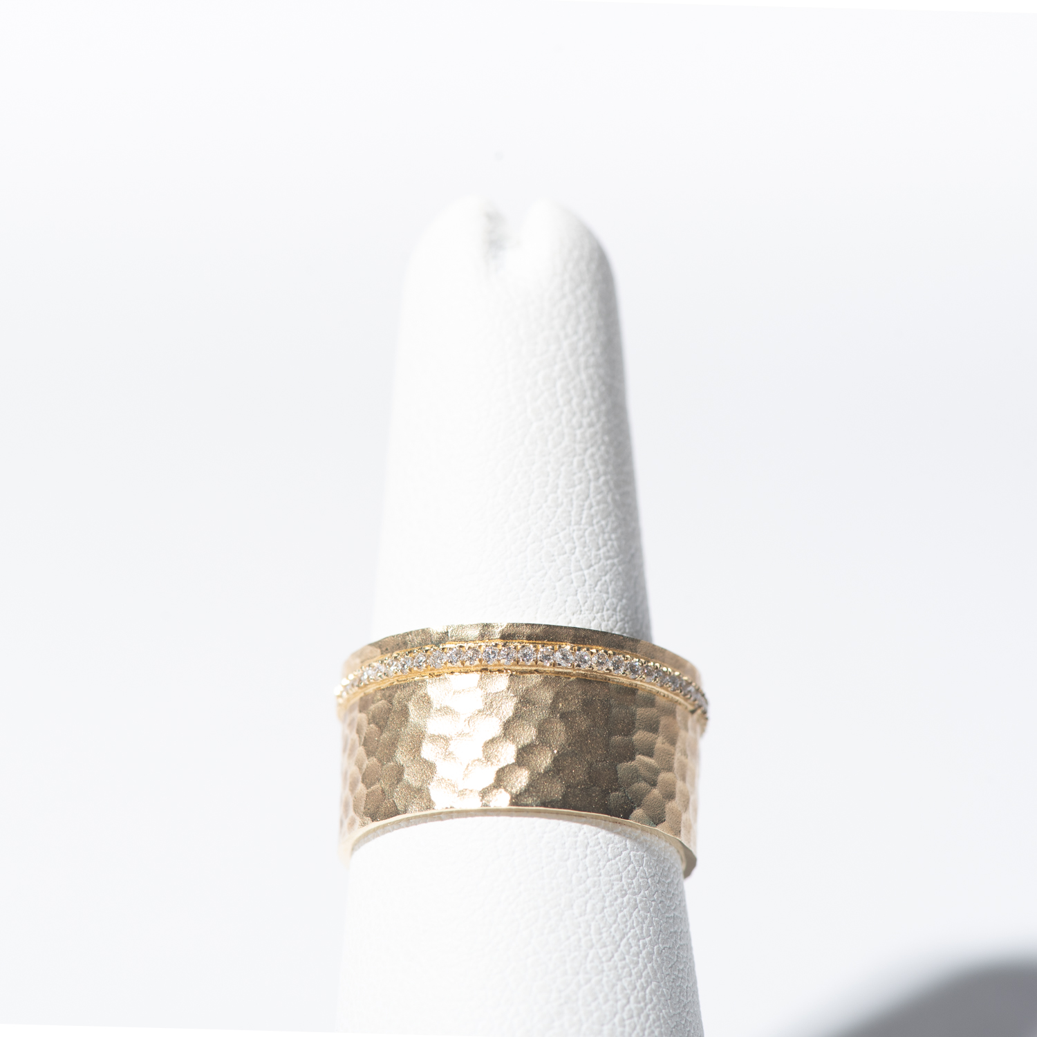 Design Four. - Wide Hammered Gold Band with Embedded Diamond Row