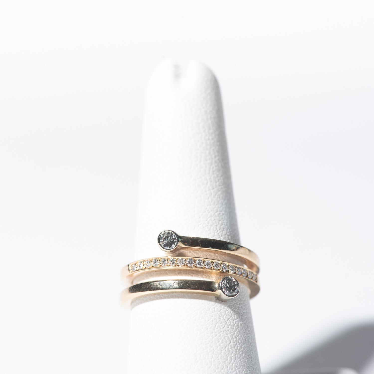 Design Seven. - Double Dot Wrap Ring in 14k Yellow Gold with Diamond Band Accent