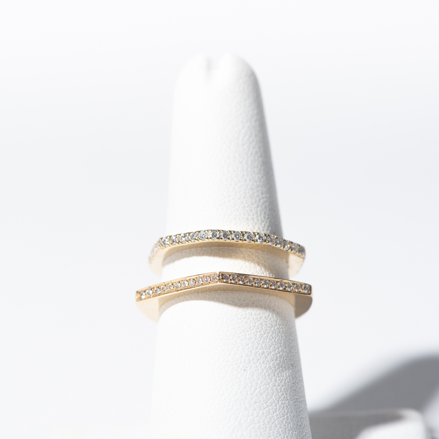 Design Eight. - Mico Pave Diamond Geometric Stackable Ring Set