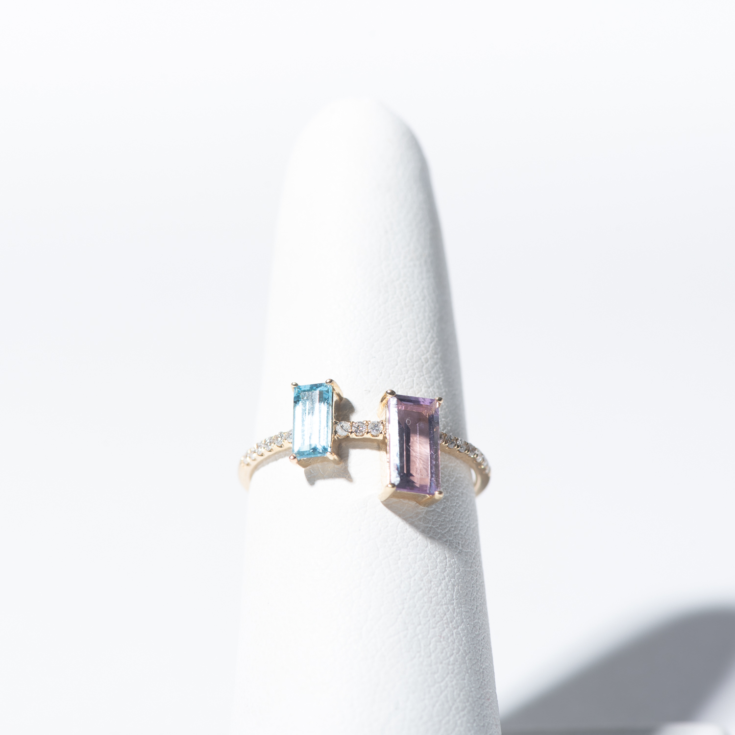 Design Thirteen. - 14K Amethyst and Blue Topaz Ring with Delicate Diamond Band