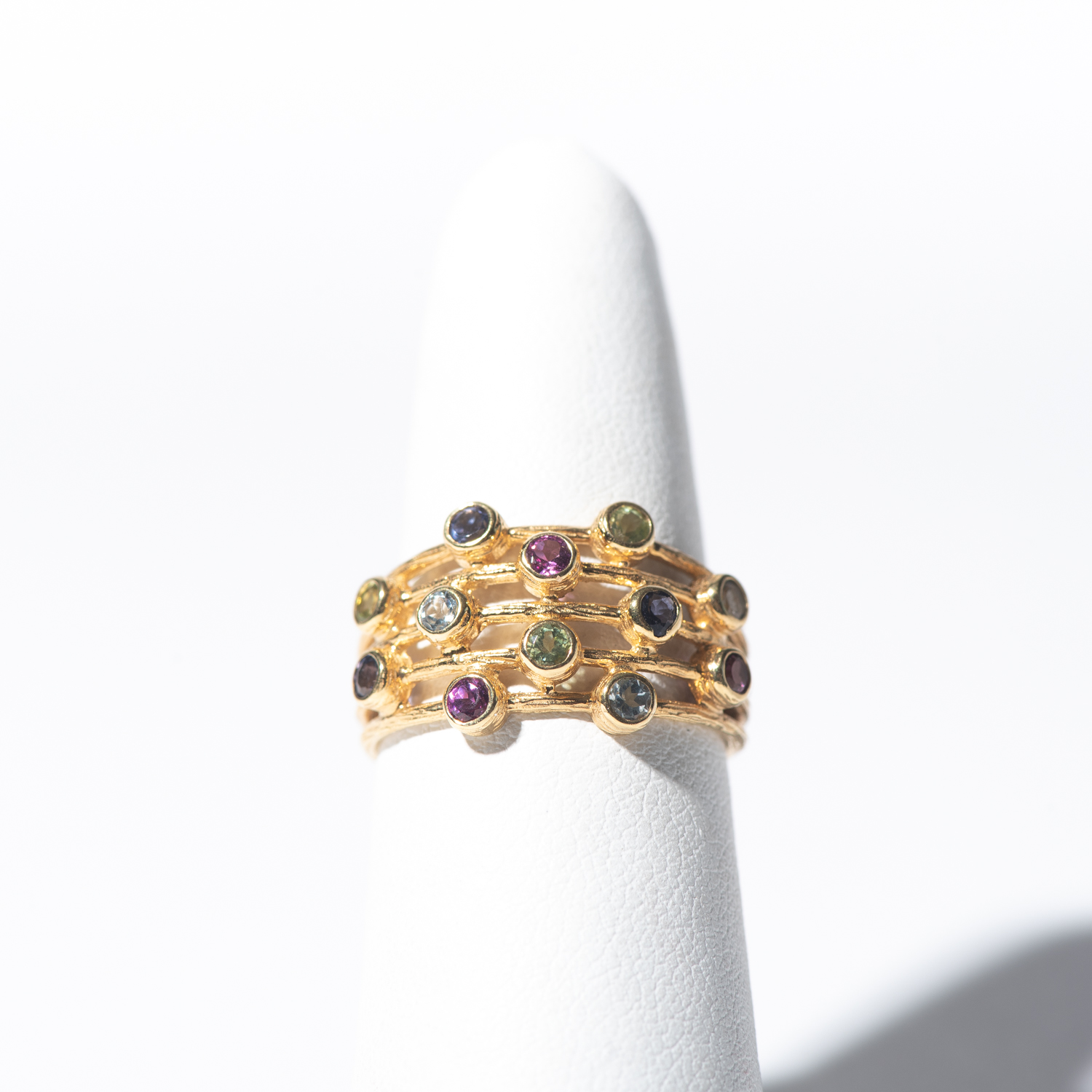 Design Eighteen. - 14K Yellow Gold Multi Color Ring with Bezel Set Stones