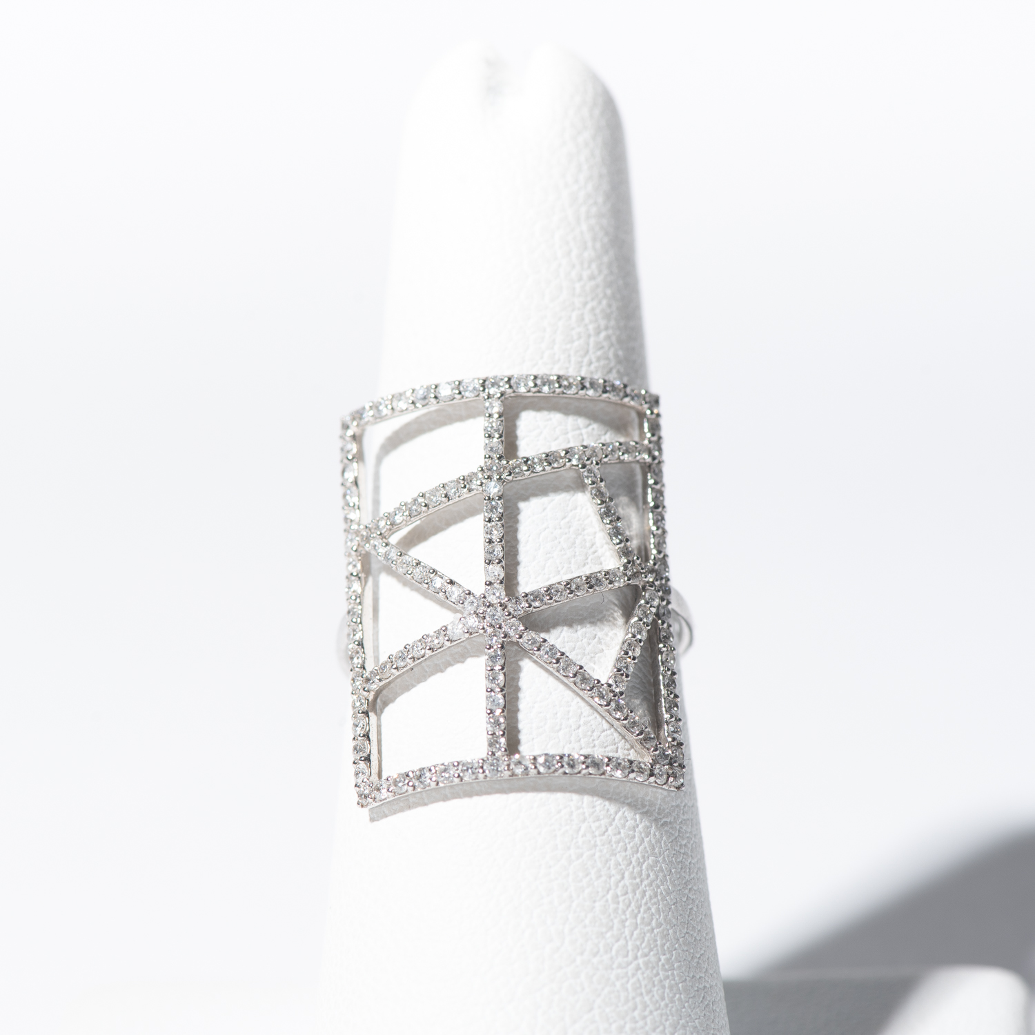 Design Twenty Six.  - 14K White Gold Geometric Diamond Ring