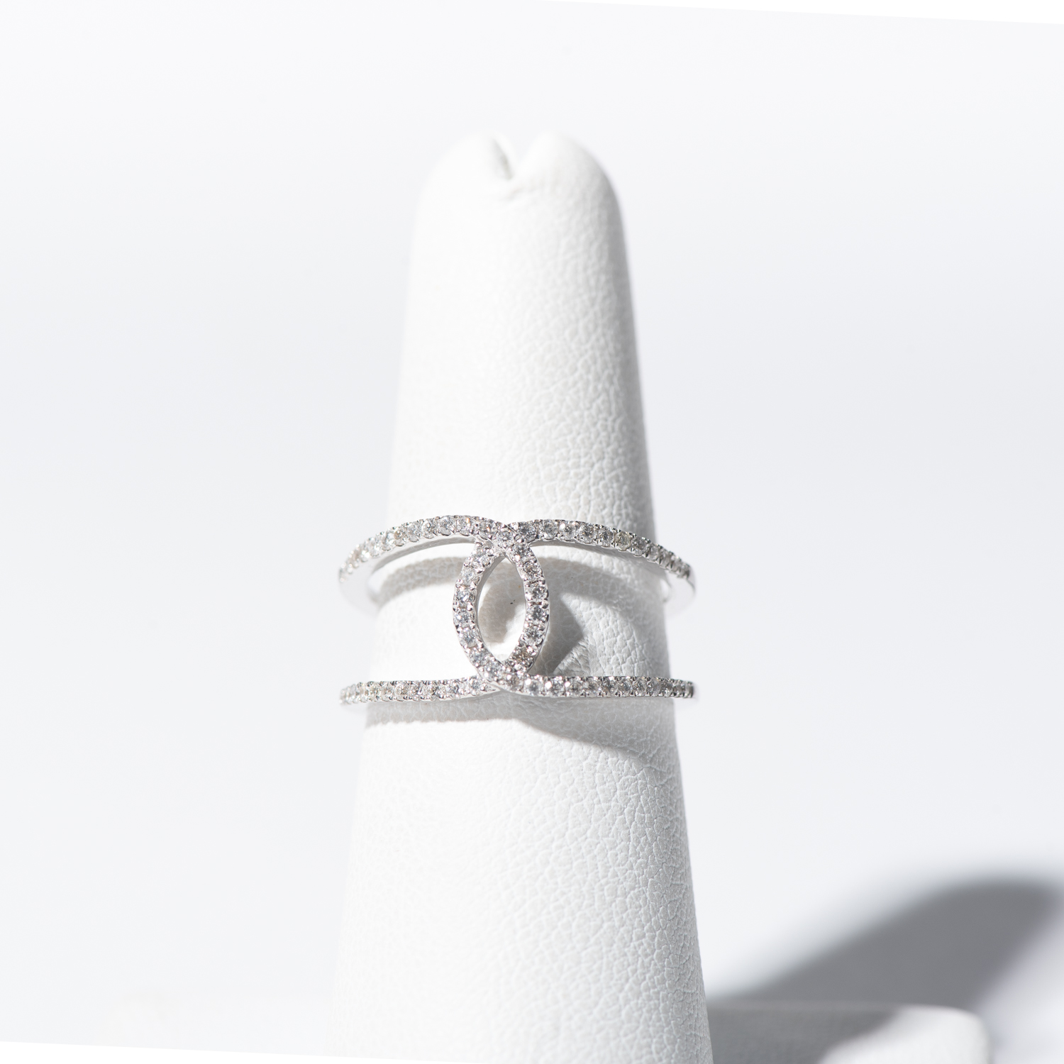 Design Twenty Four. - Open Work Crossover Design Ring Set in 14K White Gold
