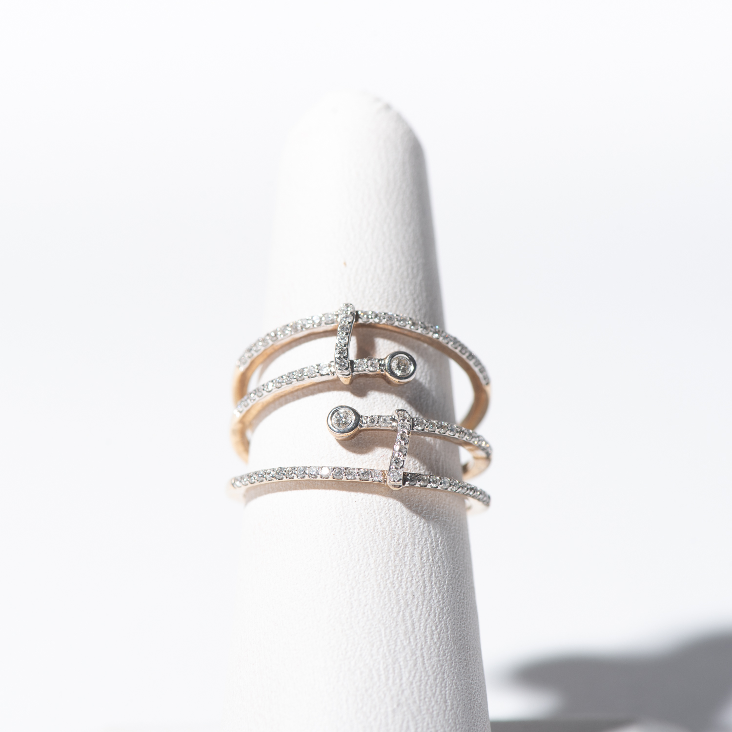 Design Eleven. - Open Style Micro Pave Diamond Ring in Mixed Metals