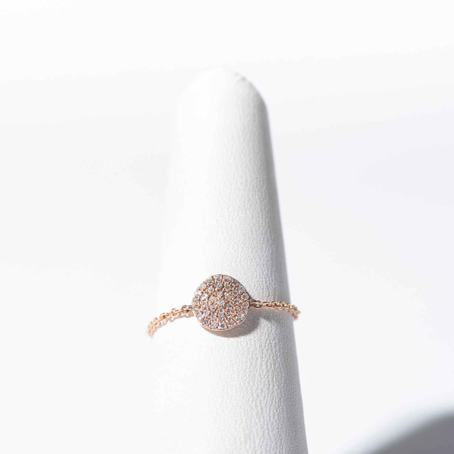 Design Twelve. - Rose Gold Diamond Circle Chain Ring