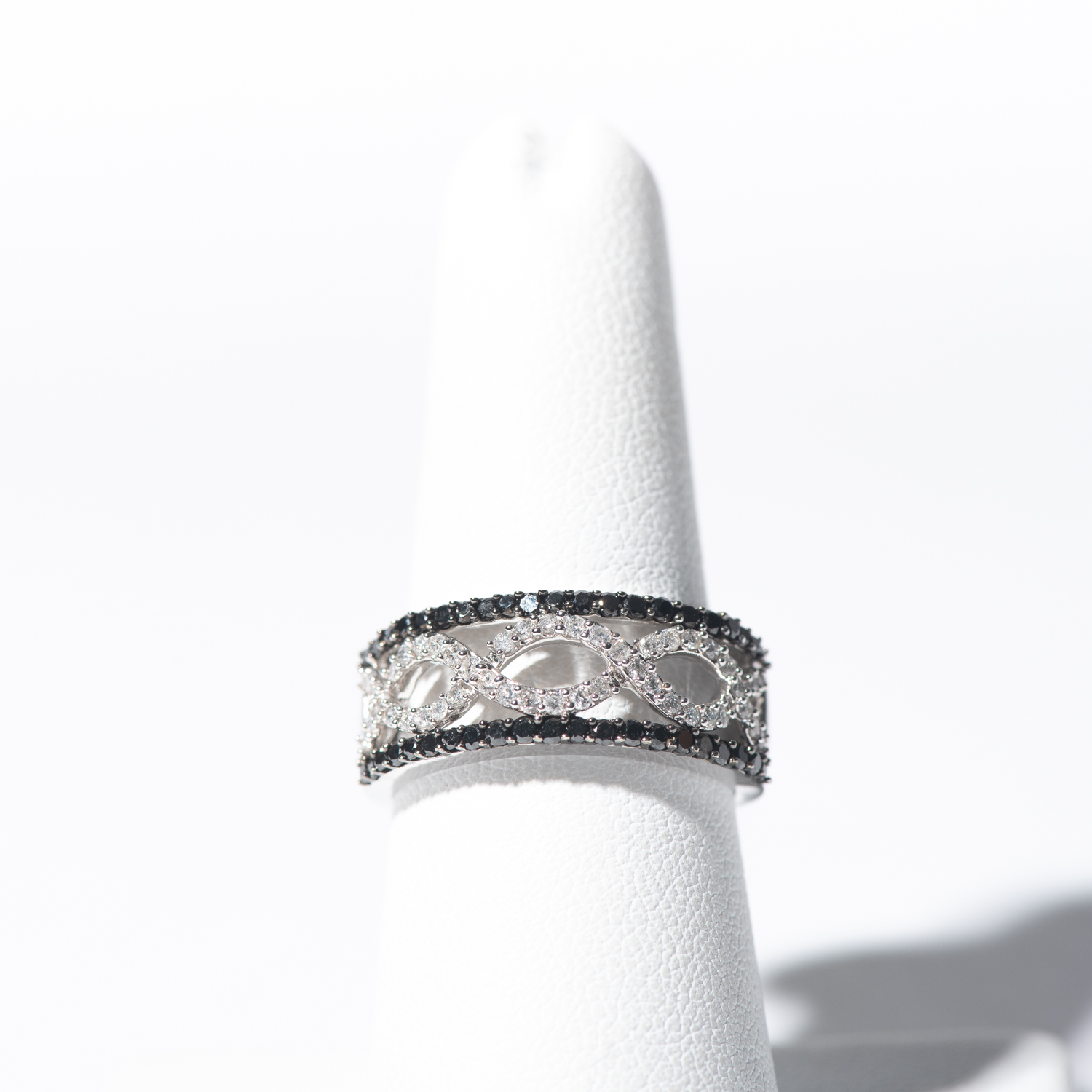 Design Twenty Nine.  - Black and White Diamond Braided Ring