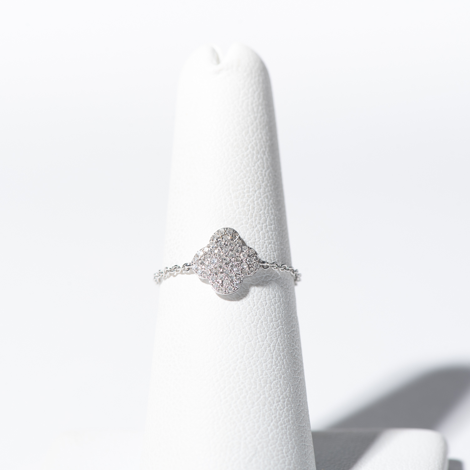 Design Thirty Five.  - 14K White Gold and Diamond Clover Chain Ring