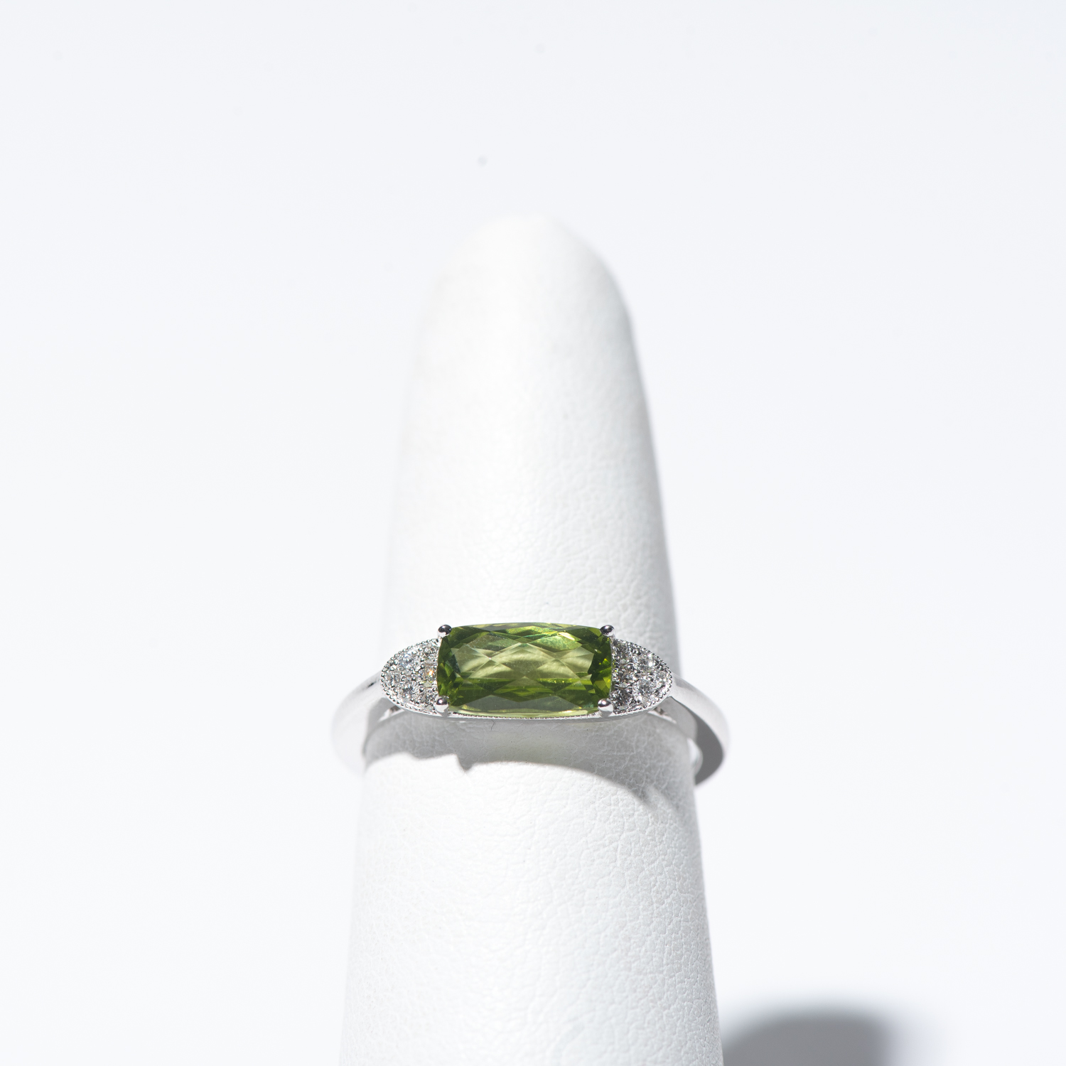 Design Thirty Seven  - 14K White Gold and Peridot Ring with Diamonds