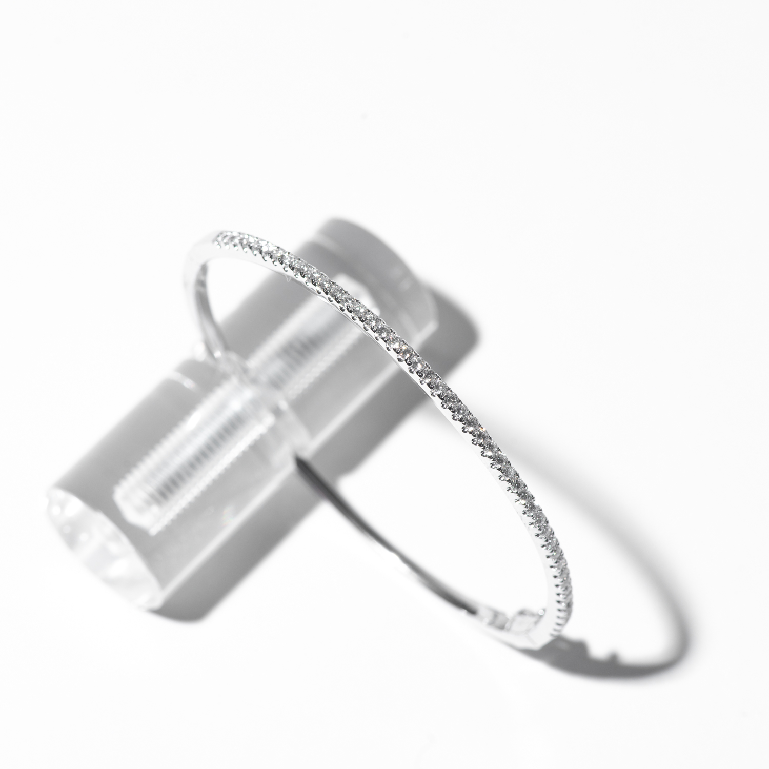 Design Six. - 14K White Gold Single Row Micro Pave Bangle Bracelet