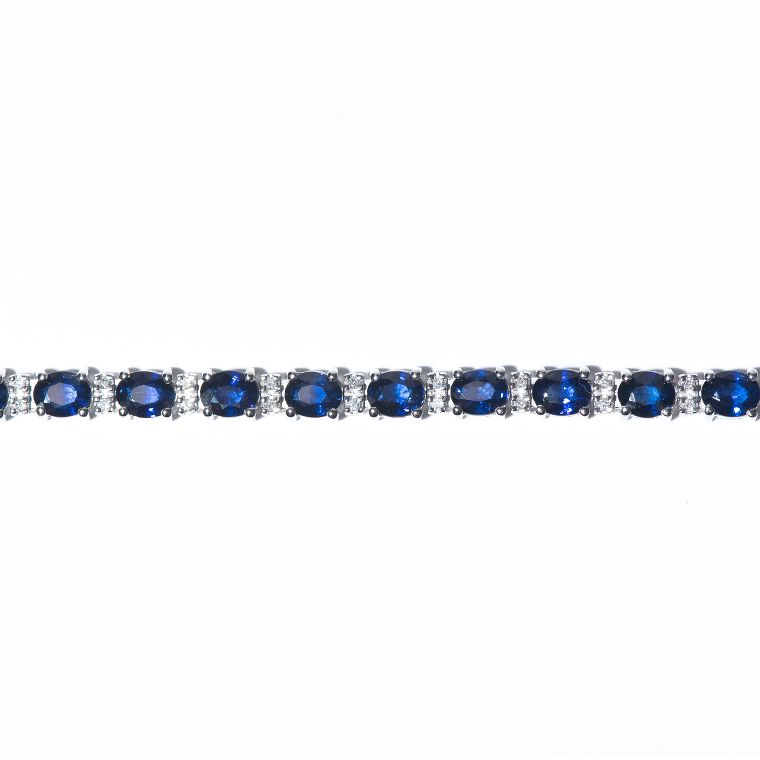 Design Eleven. - 14K White Gold Sapphire and Diamond Link Bracelet.