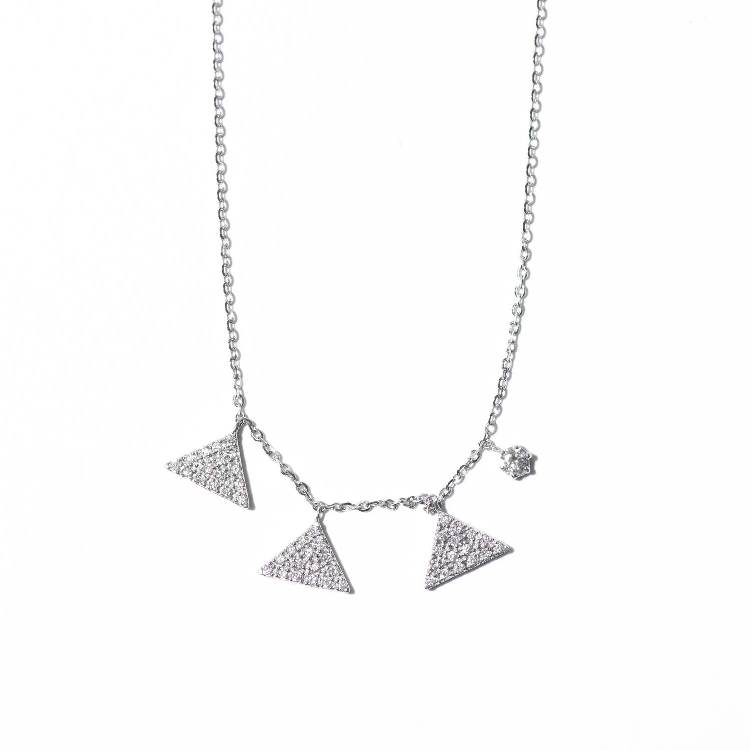 Design Fifteen. - Micro Pave Diamond Geometric Necklace in White Gold