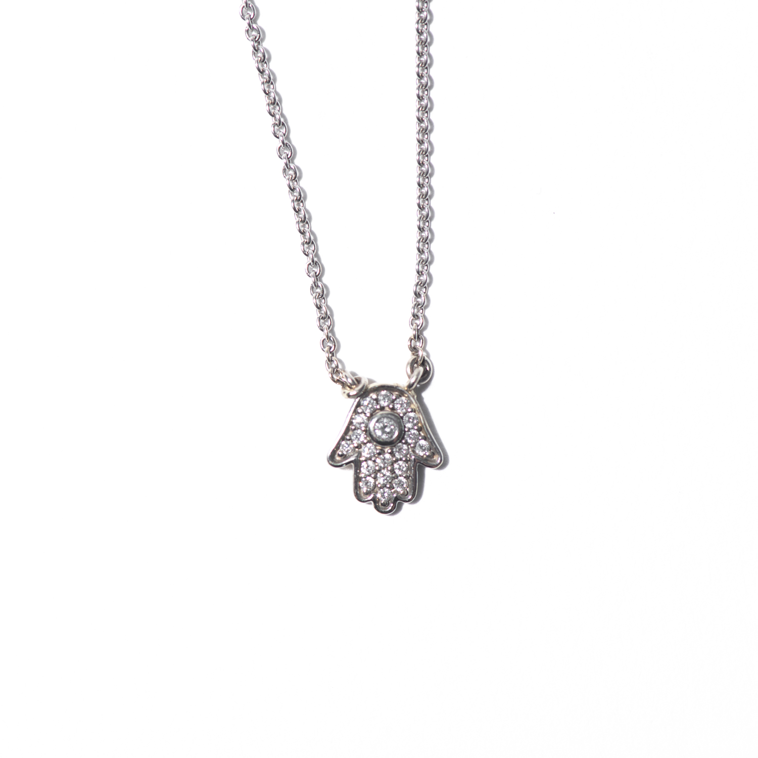 Design Seventeen. - Diamond Hamsa Charm on Set in White Gold
