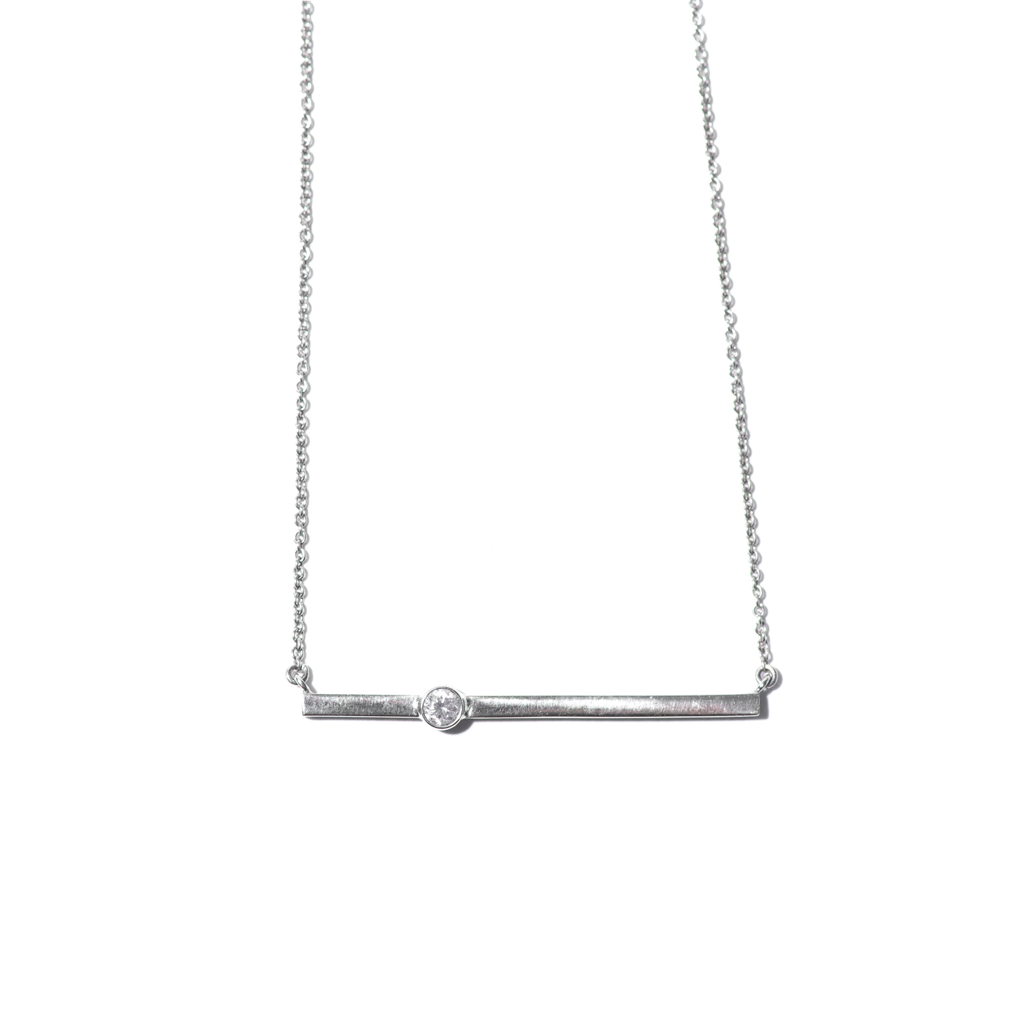 Design Eighteen. - White Gold Bar Necklace with Diamond Detail