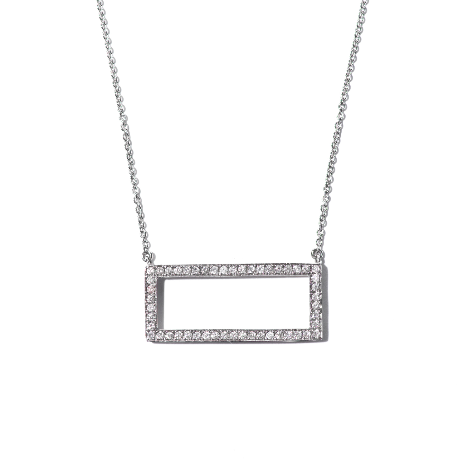 Design Twenty. - Geometric Diamond Necklace in White Golld