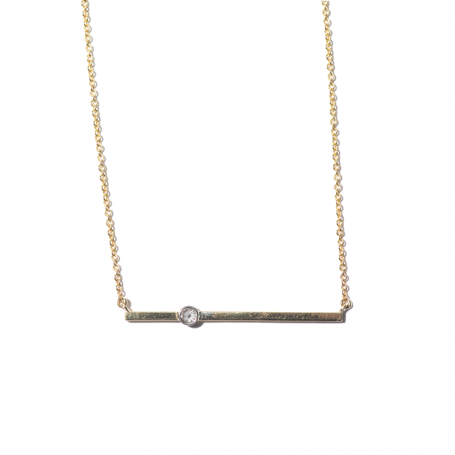 Design Twenty One. - Yellow Gold Bar Necklace with Diamond Detail