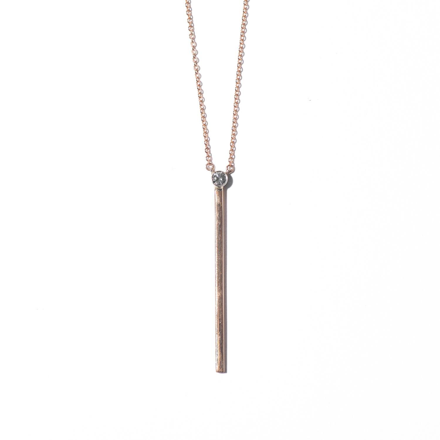 Design Twenty Two. - Yellow Gold Bar Necklace with Diamond Detail Set Vertical