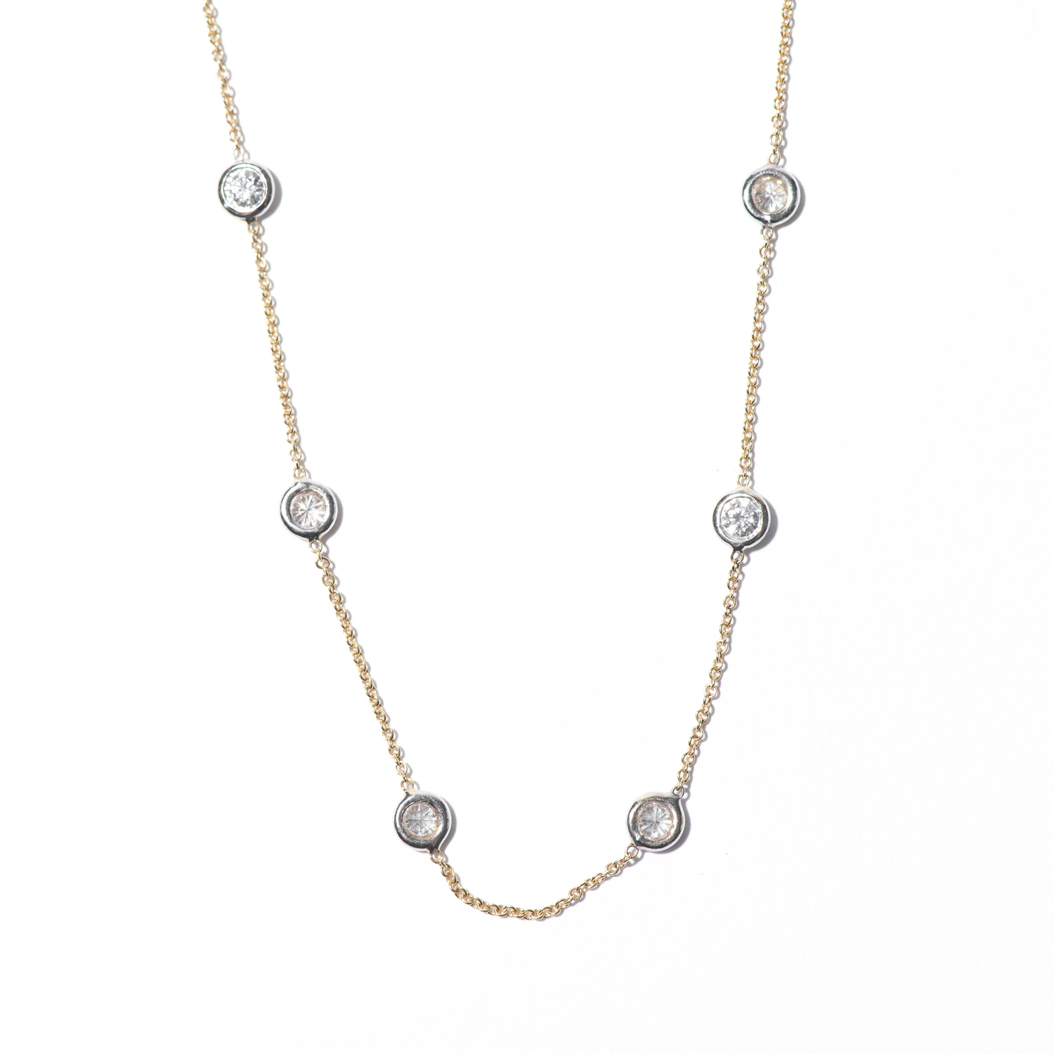Design Twenty Three. - Diamond by the Yard with White Gold Setting on Yellow Chain