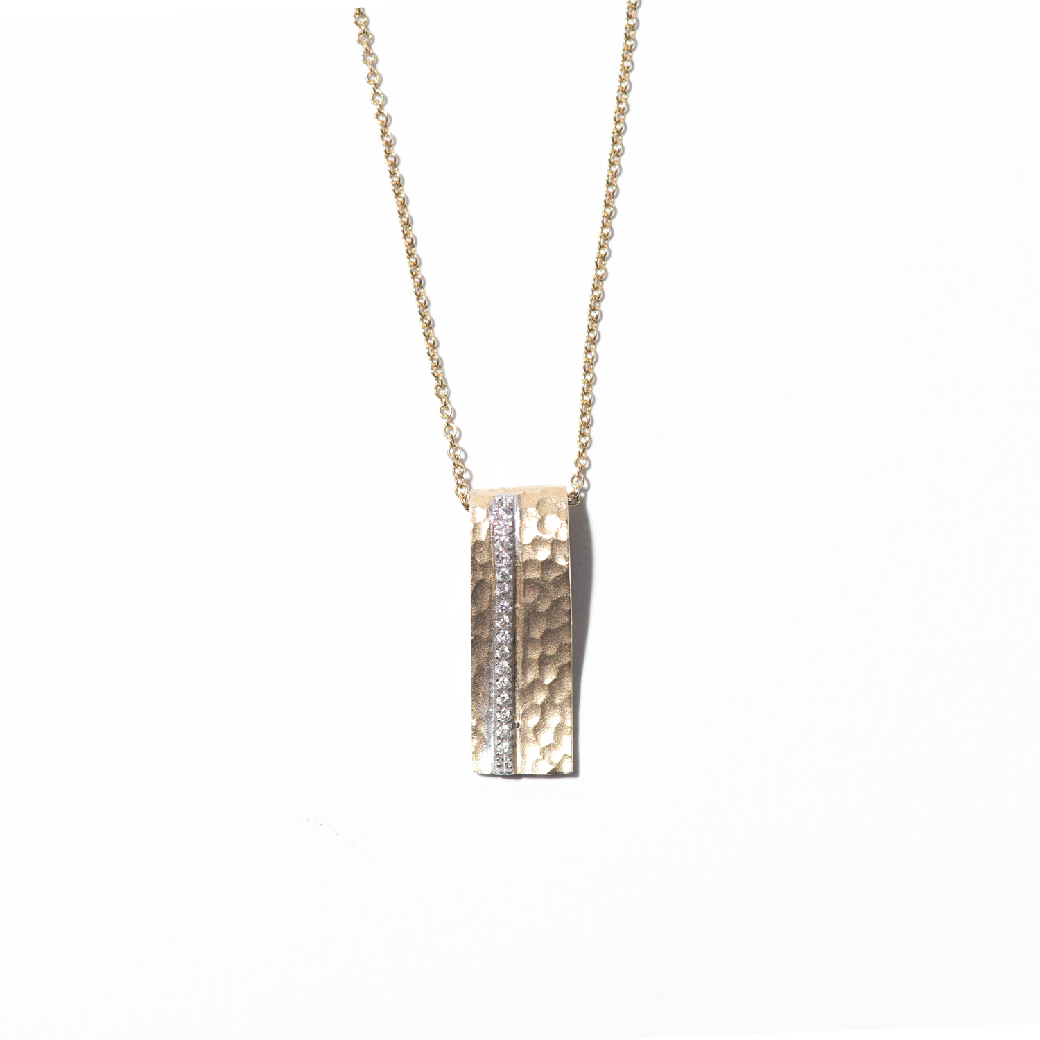 Design Twenty Five. - Hammered Gold with Diamond Bar Necklace