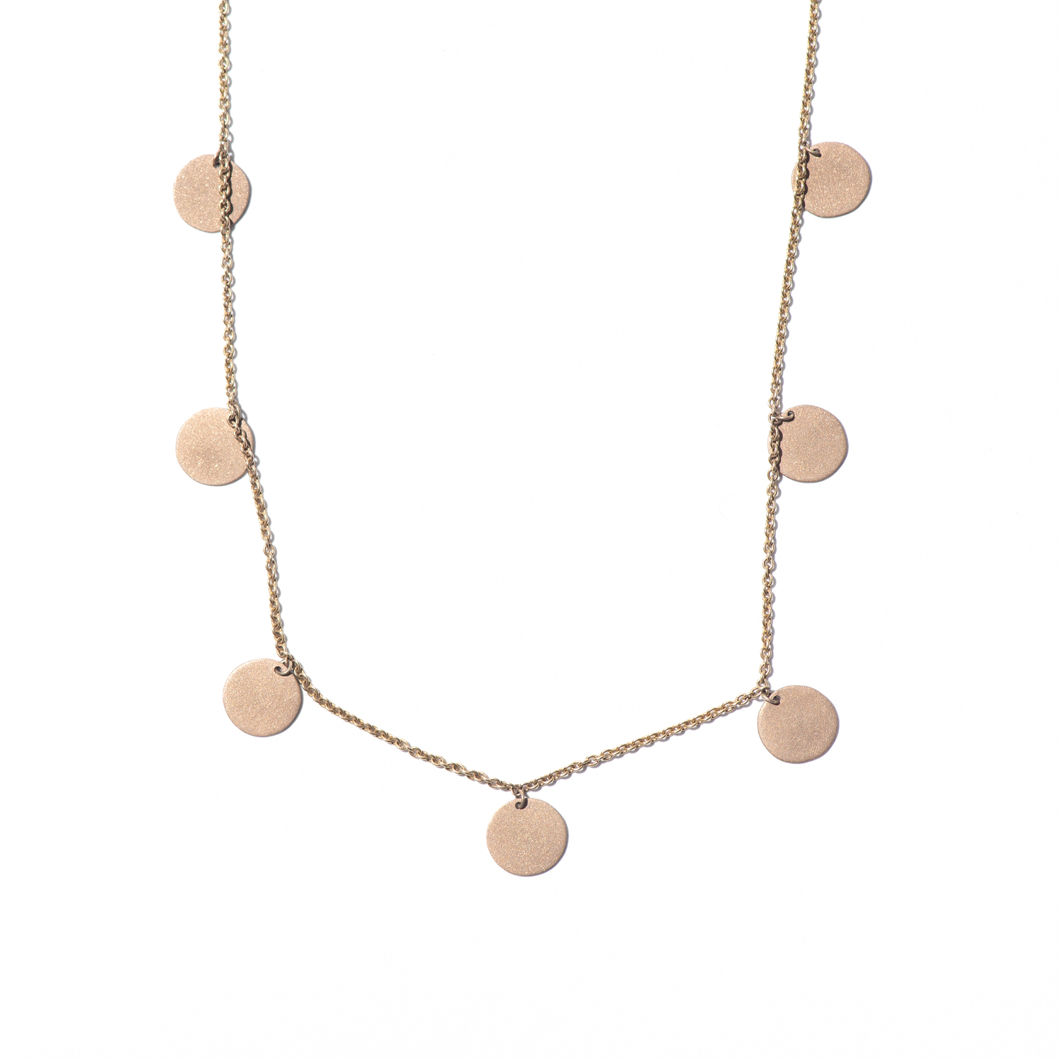 Design Twenty Six. - Satin Finish Rose Gold Charm Necklace