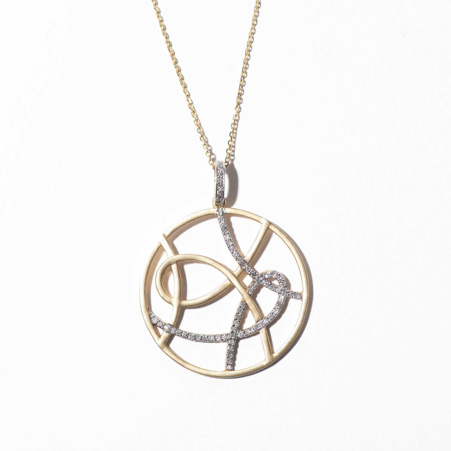 Design Thirty. - Yellow Gold and Diamond Modern Charm Necklace