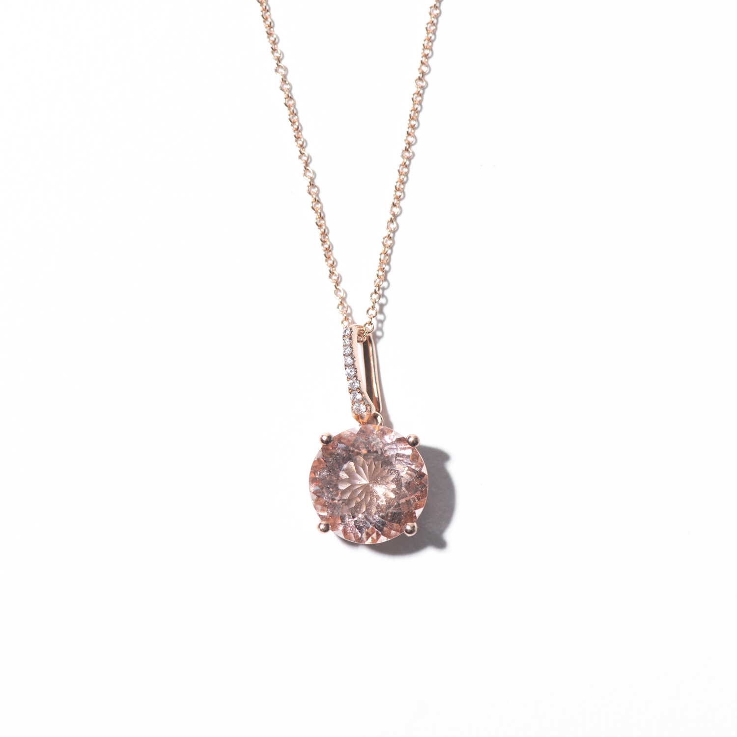 Design Thirty One. - Morganite and Diamond Charm on Yellow Gold Chain