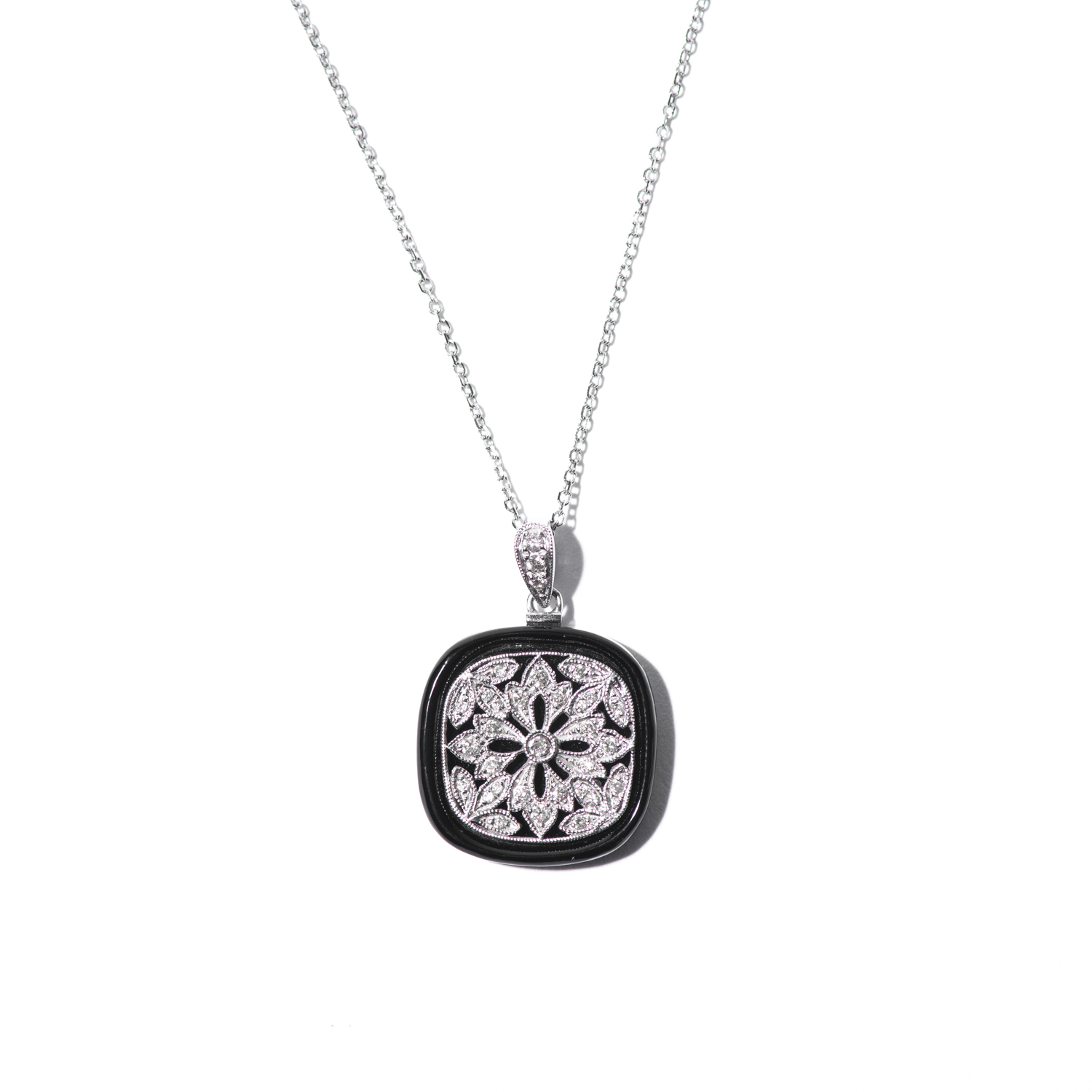Design Thirty Three, - Diamond and Onyx Charm on White Gold Chain