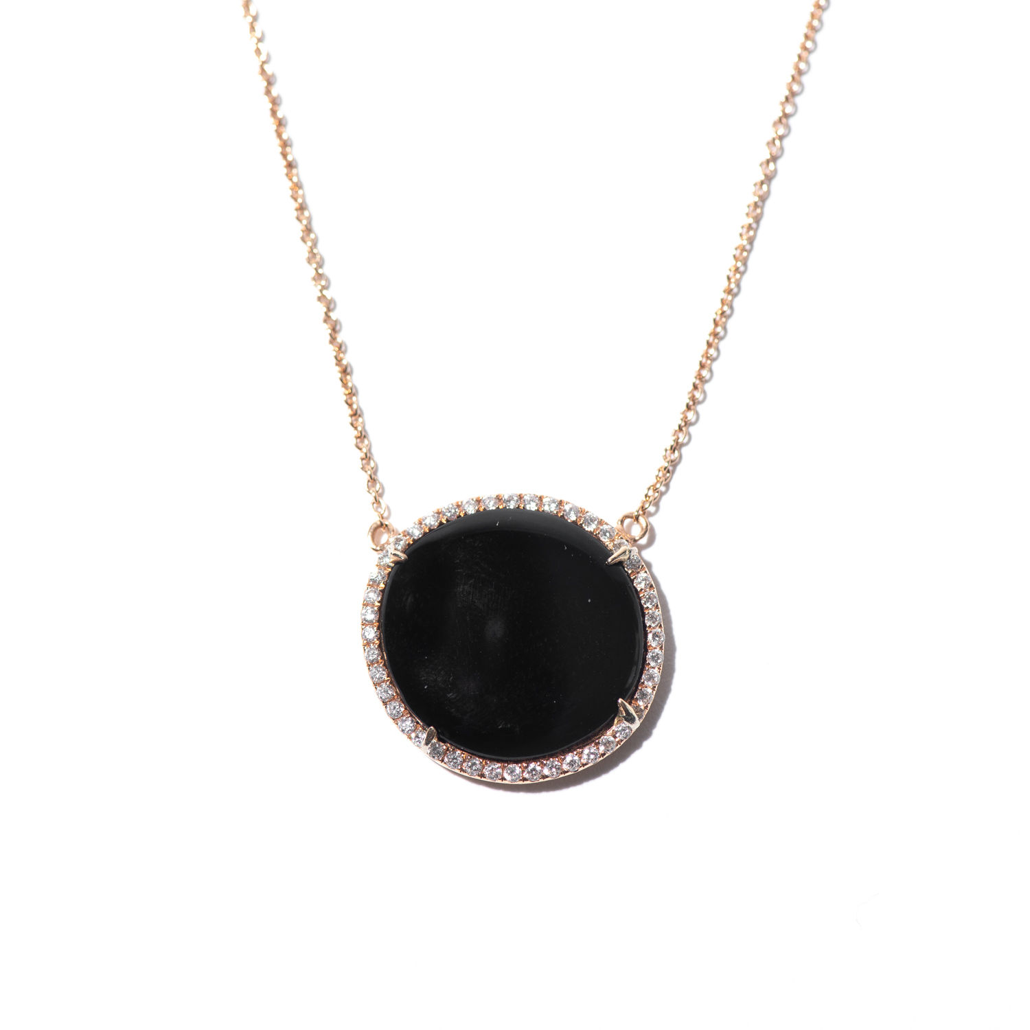 Design Thirty Four. - Diamond and Onyx Charm on Rose Gold Chain
