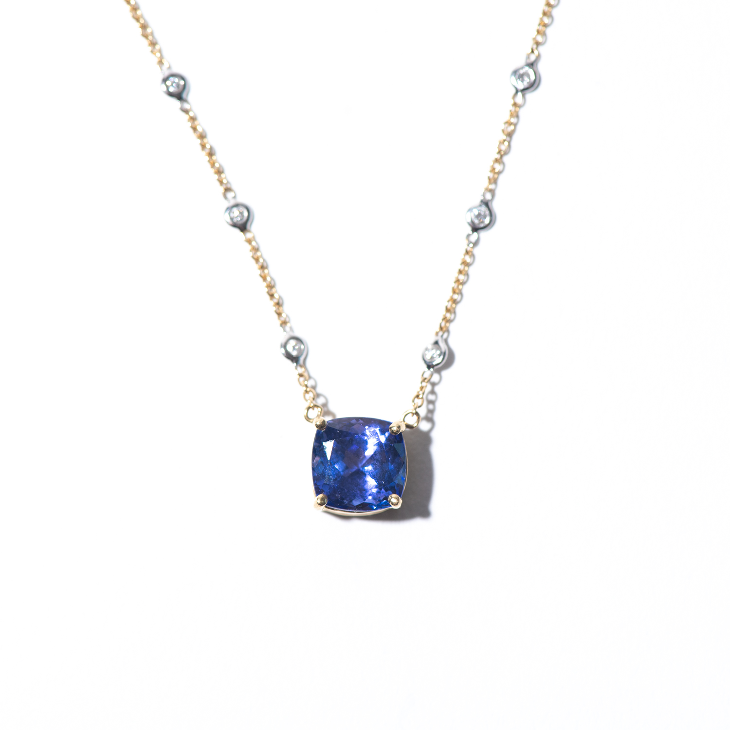 Design Thirty Five. - Tanzanite Charm on Diamonds by the Yard Chain