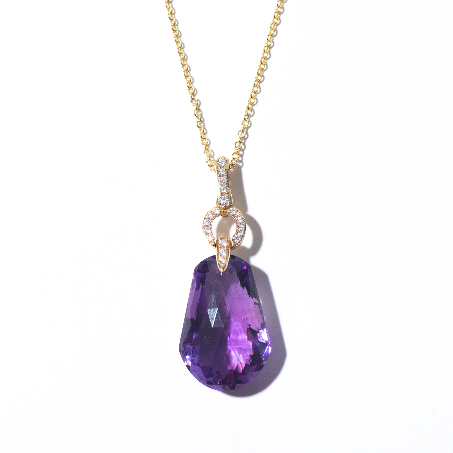 Design Thirty Six. - Amethyst  and Diamond Charm on Yellow Gold Chain