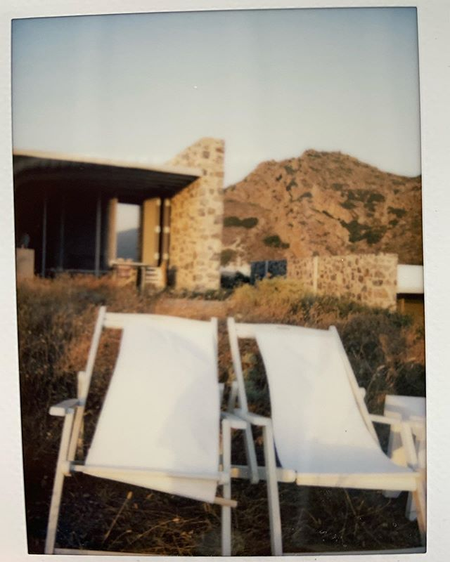 What joy these chairs, this place & those sunsets have bought. Serious tranquil Milos vibes here at @skinopilodge 🧡 No filter, shot on Instax & iPhone xx