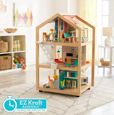 KidKraft So Stylish Mansion Dollhouse with EZ Kraft Assembly