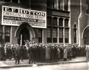 One of the mass feeding stations set up by The Salvation Army during the depression.
