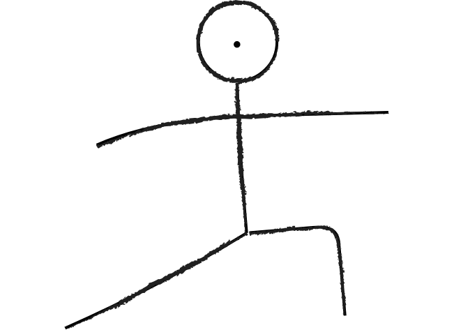 sketch of person in yoga pose, stretching