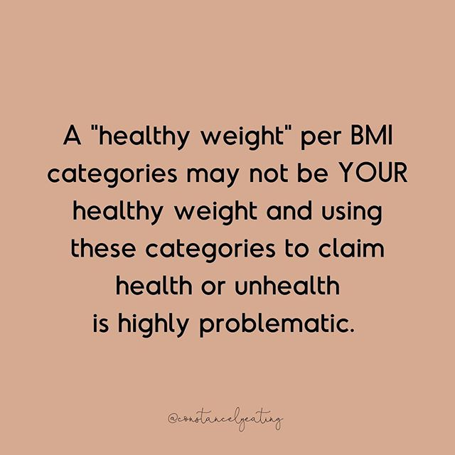 "While I had a lovely experience at the denver rec center yesterday, the one damper on my evening was the weight loss poster front and center. I could speak for hours on this one poster but I'll pick two things to focus on.  1. BMI is actual BS. It was never meant to be used on individuals - the mathematician in the 1800's even said so. It doesn't take into account muscle mass, past dieting history, trauma, SES, access to food, activity level, GENES. The term ""obese"" pathologizes weight- which leads us to think that those individuals in larger bodies are inherently unhealthy. The research speaks differently- showing us that the cardio metabolic health of individuals of ALL body sizes can be healthy (and unhealthy) per blood lipids, heart rate, blood pressure etc. Assuming individuals of larger body size aren't healthy and need and have a desire to shrink themselves is a product of our fat phobic society.  2. A ""healthy"" weight per the BMI charts may be highly unhealthy for many to achieve and often intentionally trying to lower weight comes with a host of disordered eating and exercise behaviors that unfortunately can turn into a full blown eating disorder.  At the end of the day- changing behaviors MAY lead to a decrease in weight- it may lead to an increase in weight. Weight isn't a proxy for health- the behaviors and many other factors OTHER than weight are. Thanks for coming to my TED Talk!"