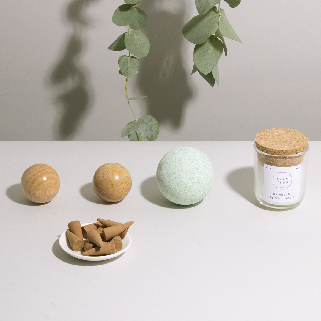 relaxation rituals  - 5 piece kit includes baoding balls, scented bath bomb, ceramic incense dish, sandalwood scented incense cones, a patchouli soy wax candle and a 5 steps to finding your calm card.