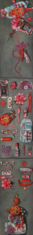 20 Red Found Objects: Strewn, Displayed, Artistically Arranged