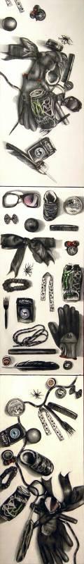 20 Black Found Objects: Strewn, Displayed, Artistically Arranged