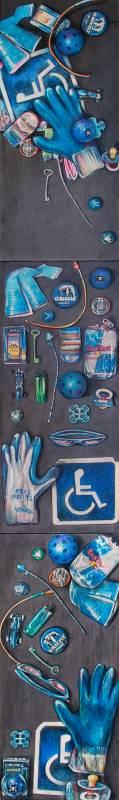 20 Blue Found Objects: Strewn, Displayed, Artistically Arranged