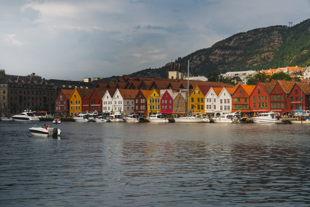A row of colourful harbourside buildings on Bergen Harbour