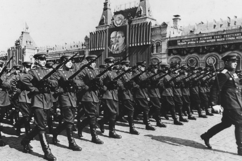 Communist Poland's Army marching in Budapest