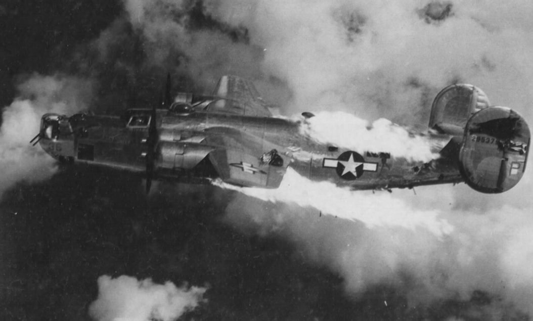 A B-24 bombed attacked during WWII.