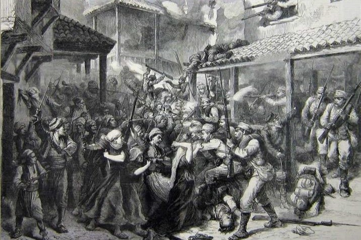 A depiction of the Austro-Hungarian people being occupied by military force.