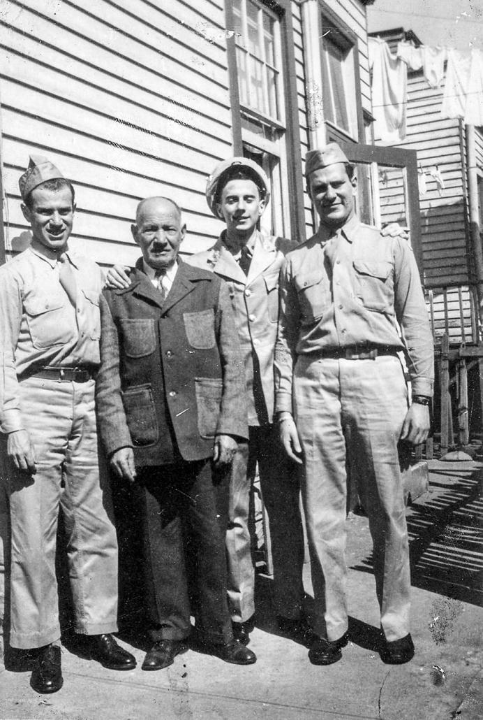 Larry Tisch, Shlomo Tichinsky (nee Titenskaya), Alan Medoff, and Bob Tisch circa 1943. (Journeys; Mary Skafidas & Andrew Tisch)