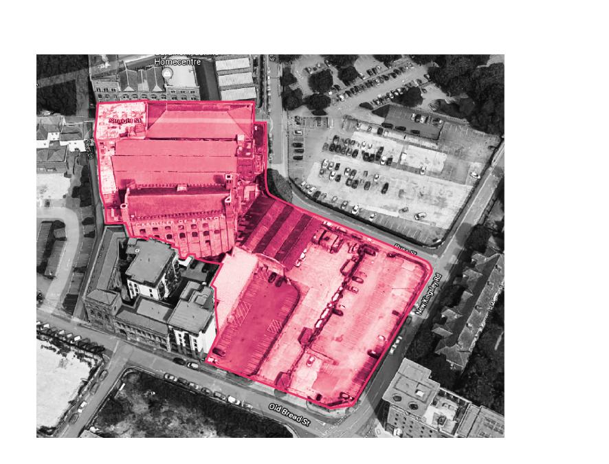Aerial redline map of site