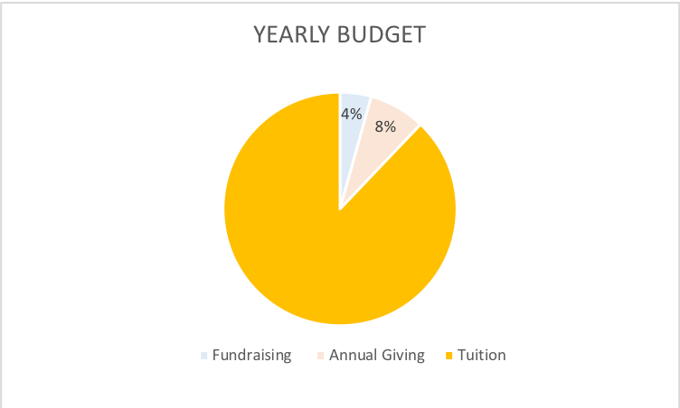 The fundraising events raise about 4% and Annual Giving about 8% of the budget.