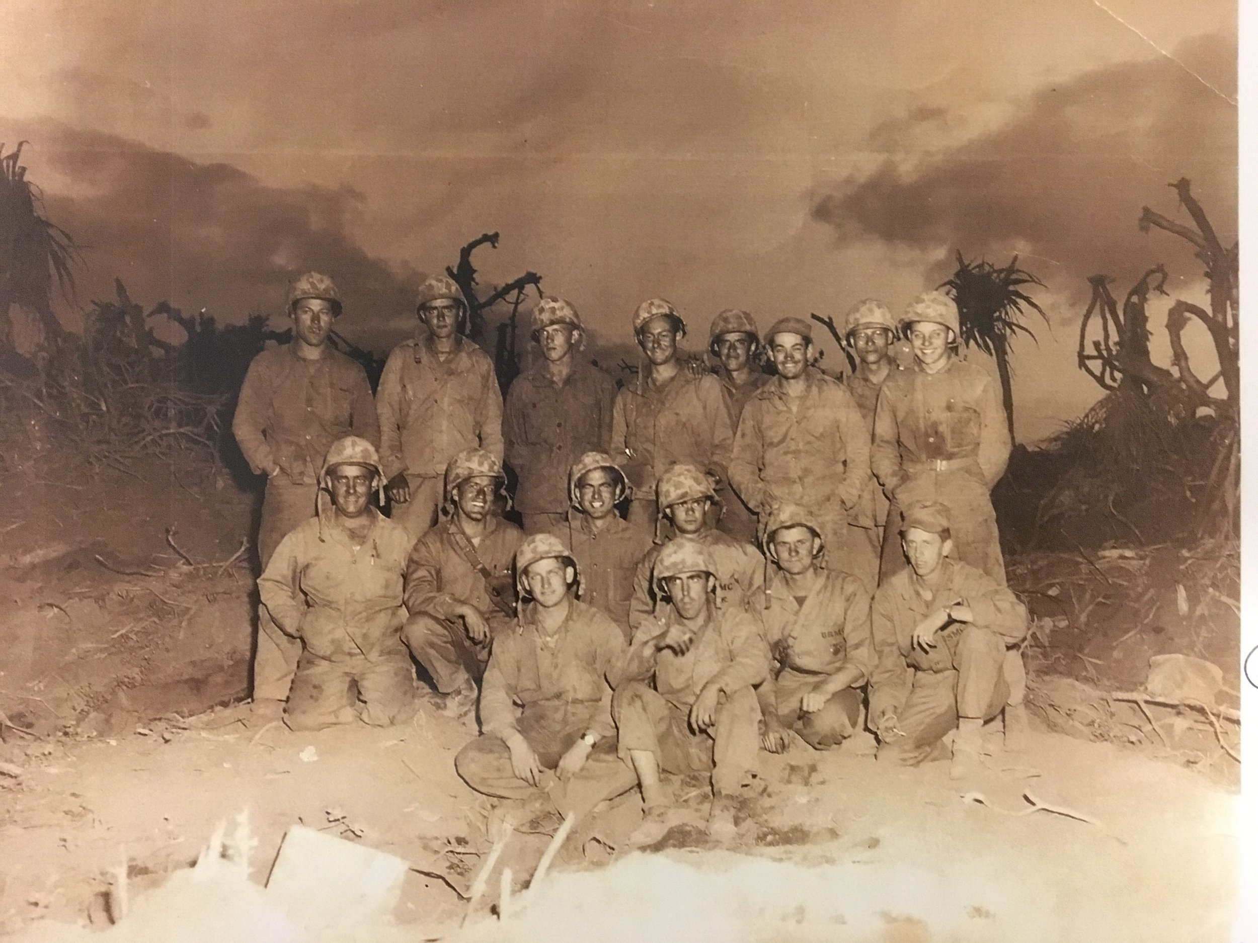 Harold is pictured in the second row, third from the left, on Iwo Jima.
